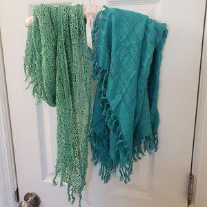 Pair of Scarves Set Blue Teal Green